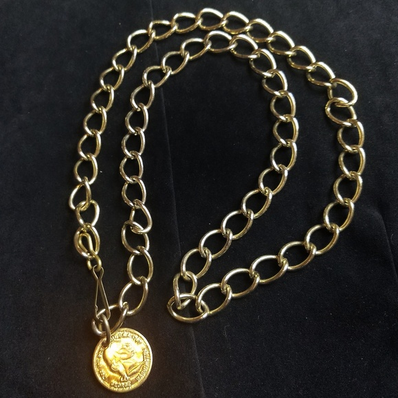 George Washington Coin Chain Link Belt Gold Tone